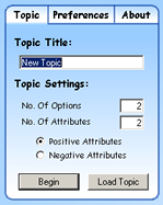 Settings Window - Topic Tab